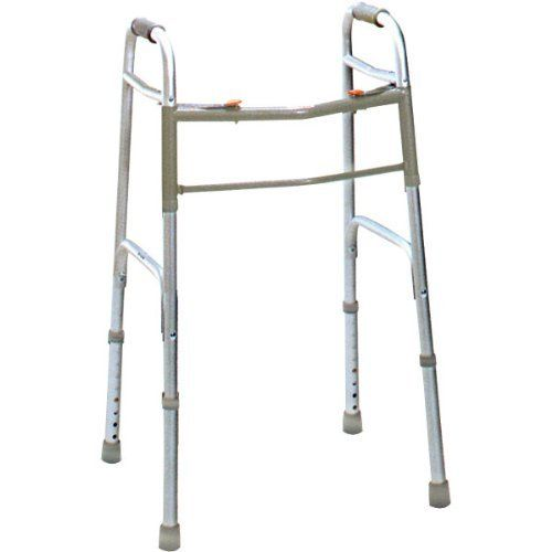 Deluxe Folding Junior Walker Two Button by Drive. $16.95. Easy to locate red button release - can be operated by finger, palm, or side of hand. Aluminum tubing construction ensuring maximum strength while remaining lightweight. Adjusts from 25-32 in 1 increments. 300 lb weight capacity. Limited lifetime warranty.. Save 66%!