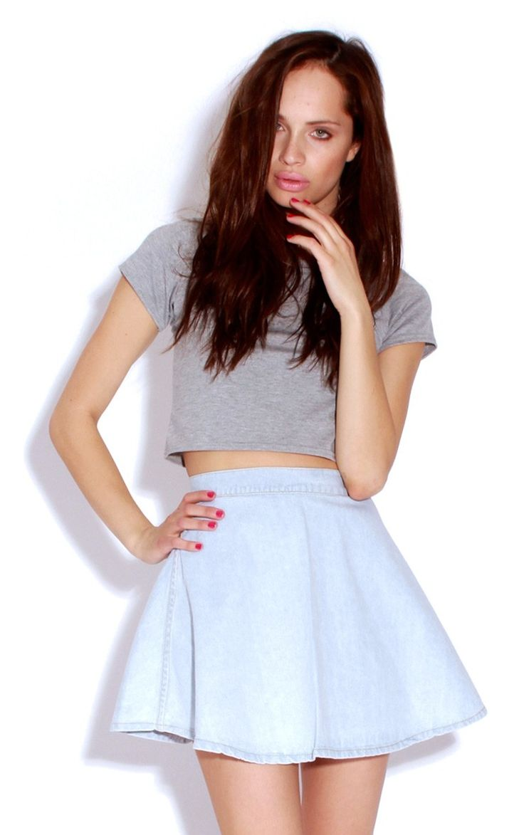 Denim Skater Skirt Outfit Tumblr | www.pixshark.com - Images Galleries With A Bite!
