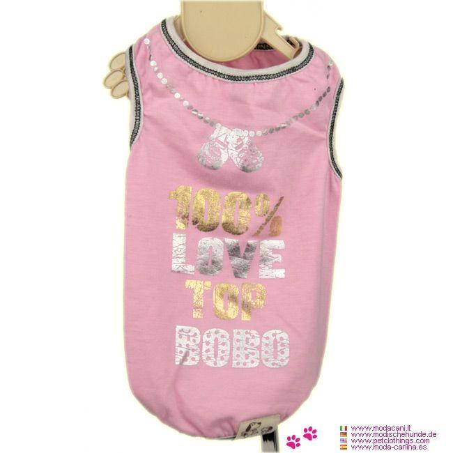 Rosa Tank-Top für Hunde 100% Love - Nagelneu Rosa Tank-Top für Hunde 100% Love, für unsere Sommerkleidung Kollektion: Ausschnitt und Ärmel sind grau umrandet, mit sichtbaren Nähten