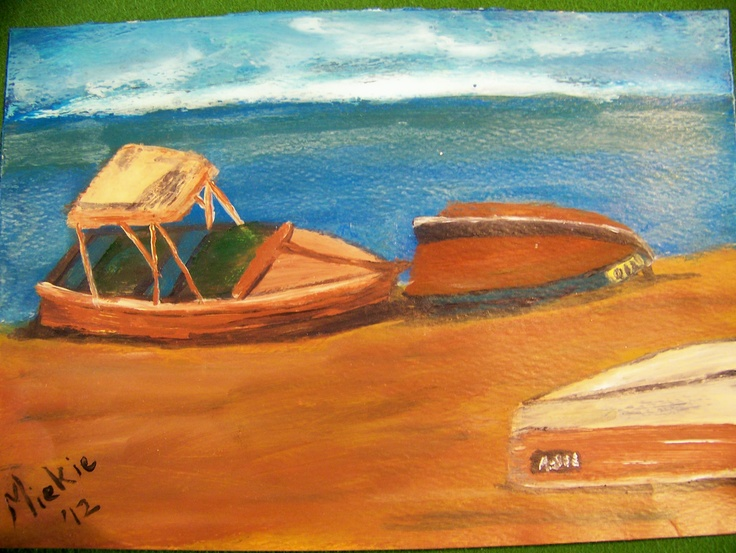 This painting was inspired by something that Tom Swimm did.  I am enchanted by boats in all shapes and forms and cannot help myself when I get an opportunity to draw or paint one.  These temporarily discarded boats on an empty beach makes an emotional appeal that I enjoyed painting.  Acrylic on paper.  148 x 208 mm