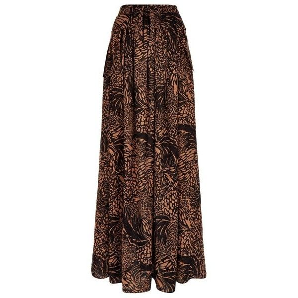 Chloé Leopard Print Maxi Skirt (9.625 BRL) ❤ liked on Polyvore featuring skirts, brown maxi skirt, long brown skirt, bohemian maxi skirt, silk camisole and long summer skirts