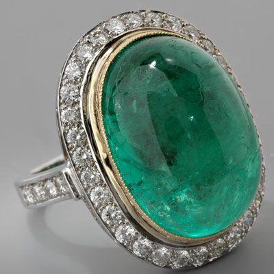 Estate Platinum Cabochon-cut Emerald and Diamond Cocktail Ring