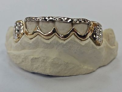 S. Silver 10K or 14K Solid Gold Custom 2 Tone Open-Cut Diamond Cut Grill Grillz