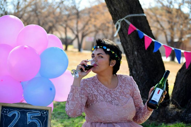 Toast to 25 🍷 25th Birthday Photoshoot  Blue and Pink #Balloons #Banner Tulle and lace dress #celestedqstarr  Photo by PhotoJeni'Q