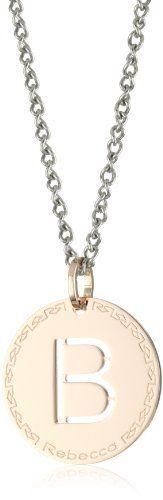 "Rebecca ""Word"" Rose Gold Over Bronze Letter ""B"" Necklace REBECCA. $99.00"