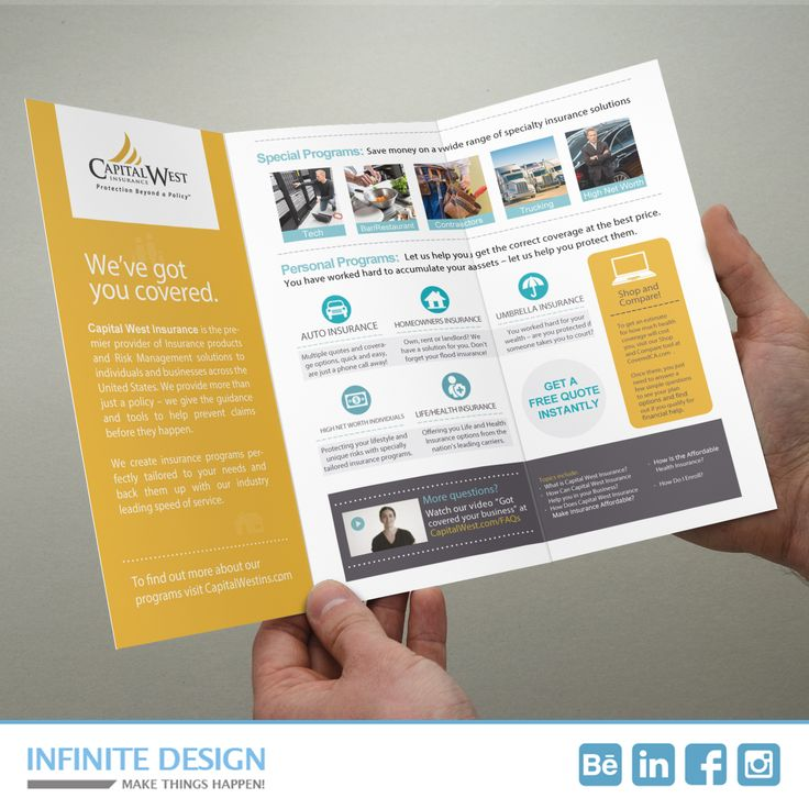 Trifold Design: Capital West Insurance is the premier provider of Insurance products and Risk Management across the United States, located in Phoenix.  #brochure #graphicdesign #Phoenix #Insurance
