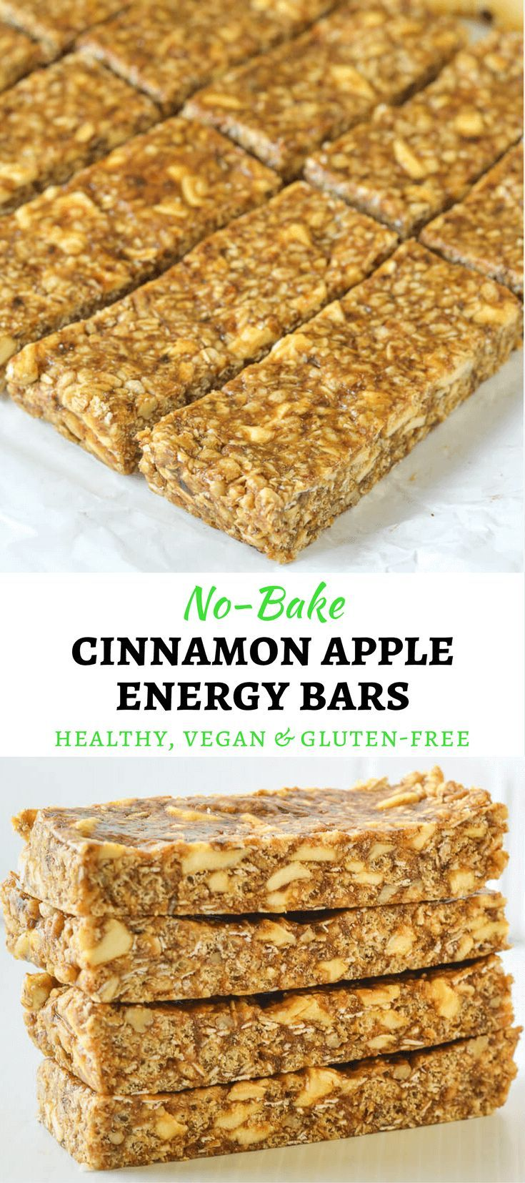 Incredibly delicious No-Bake Cinnamon Apple Energy Bars. A delicious mix of chewy & crispy & so quick & easy to make!  via @avirtualvegan