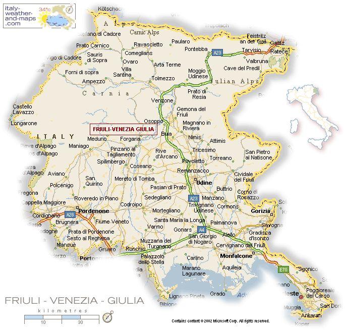 Friuli-Venezia Giulia, Italy, map