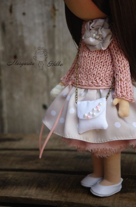 Soft doll Handmade light pink Girl doll by AnnKirillartPlace