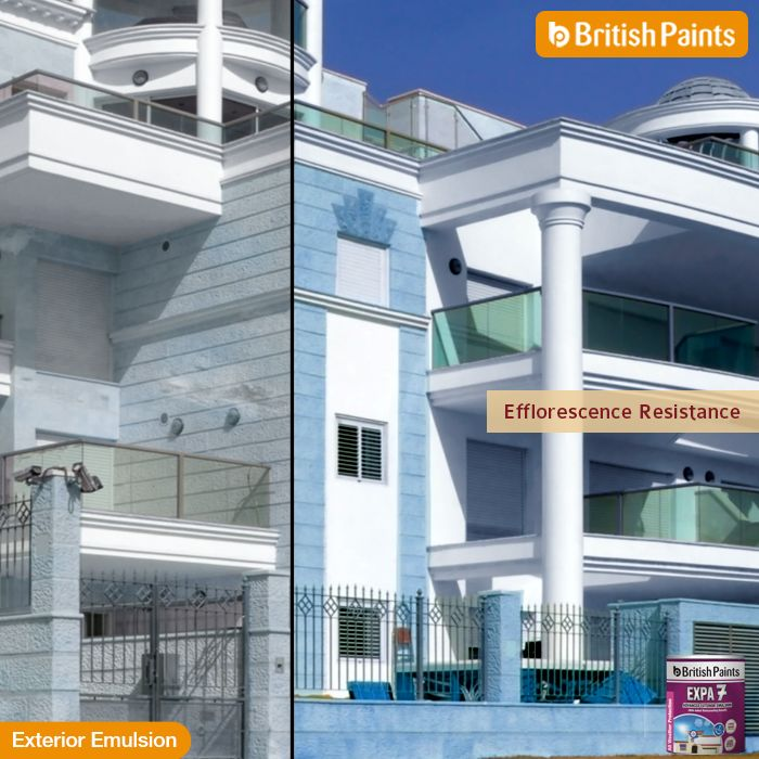 #Expa7's #ResistanceToEfflorescence protects your walls from patches.  #BritishPaints #ExteriorEmulsions  Know more about the other products here: http://www.britishpaints.in/