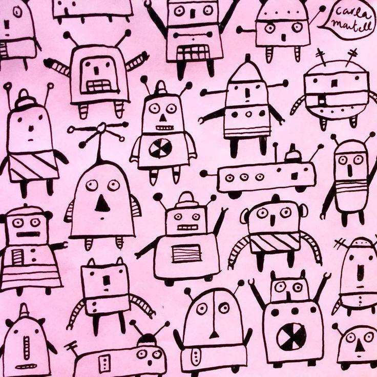 Sketchbook robots - by Carla Martell for Scruffcat