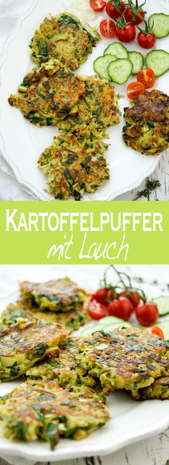 Rezept für Lauch-Kartoffelpuffer mit Blauschimmelkäse (Roquefort) und Spinat. Einfache, Schnelle Rezepte aus frischen Zutaten, Elle Republic