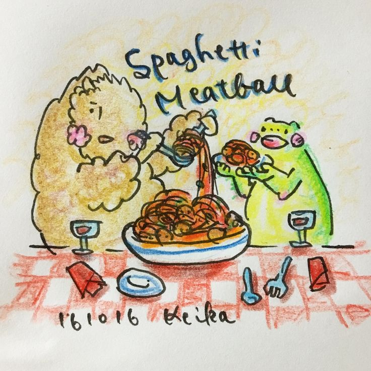 【Around midnight】カリオストロの城を見た日の夕飯はコレ。after watching Lupin III movie, the dinner will autimatically become this. #spaghettimeatballs #pasta #bison #frog #illustration #drawing #animal #動物 #バイソン #かえる #ミートボールスパゲティ #ルパン三世 #カリオストロ #イラスト #おえかき #sharing
