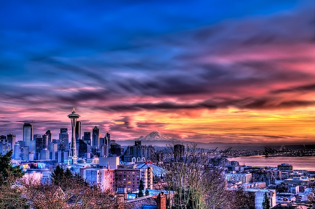 25 30 Seattle: Blazing Seattle Sunset - Wide