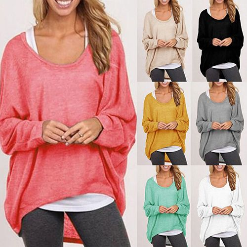 Fashion Women Long Sleeve Knitted Sweater Jumper Pullover Casual Loose Baggy Tops