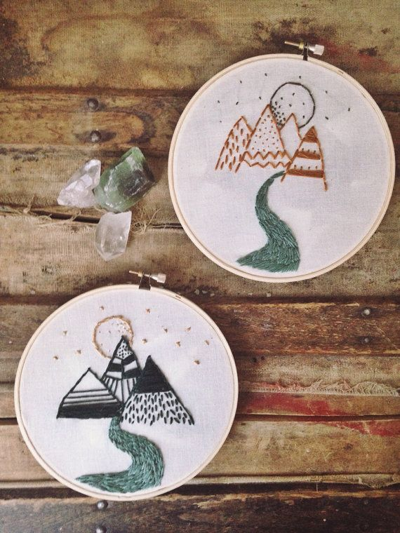 Mountain Range in Yellow Embroidery Hoop by WholesomeHandknits