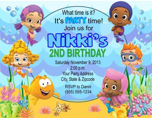 33 best bubble guppy bday images on pinterest | bubble guppies, Party invitations