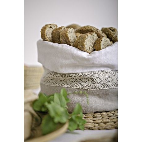 Ľanové vrecko na pečivo Vám ochráni Vaše pečivo a okrášli stolovanie.