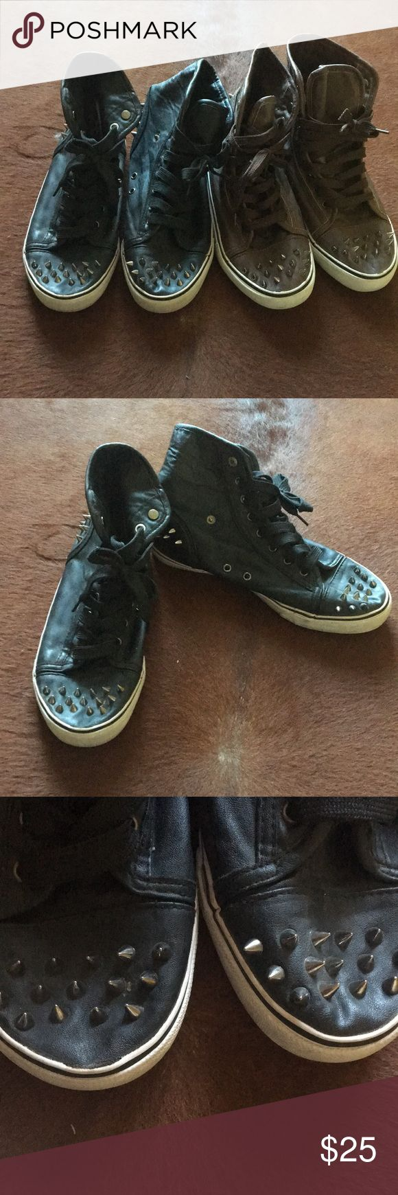 Bundle of Spiked High Tops Stylish. Brown and Black pairs. Measures about 10.5 inches. Size 8. My teen wore it. There is wear on the toes (see pic). And the back sole of the black... still lots of life left. Price reflected. Shoes Sneakers