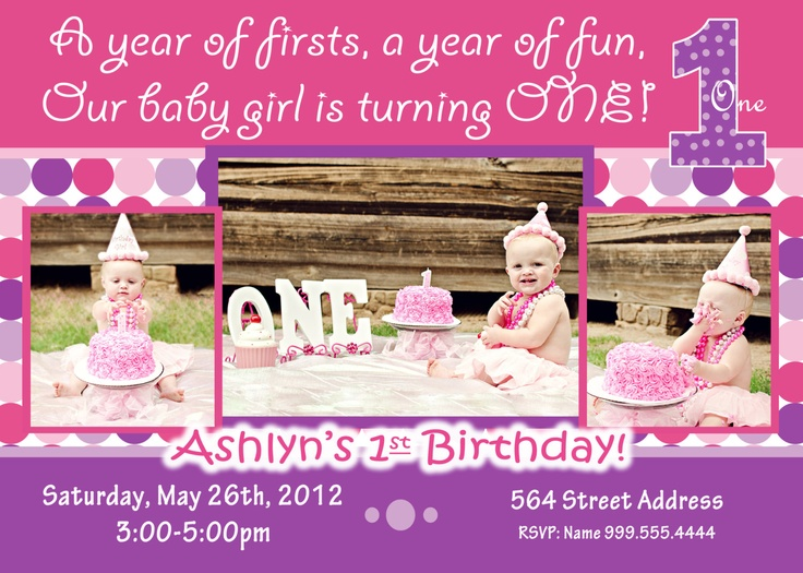 Best Girls St Birthday Images On Pinterest St Birthday - 1st birthday invitations girl purple