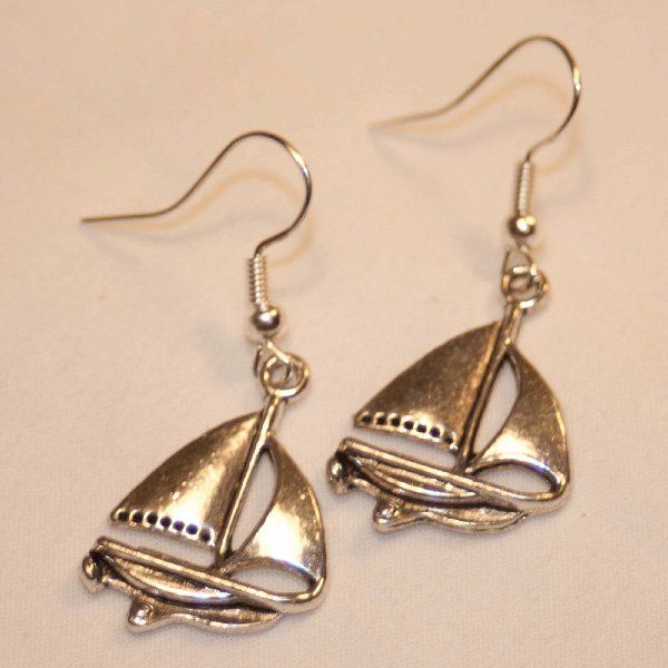 Sailboat Drop Earrings - Silver | Nautination gifts for sailors, boaters…