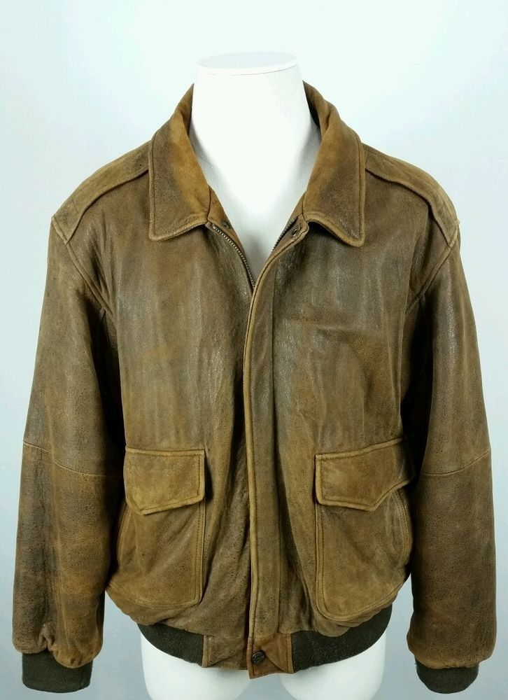 VTG WILSONS® Mens Sz XL Leather Motorcycle Bomber Flight Coat Jacket Brown #Wilsons #FlightBomber