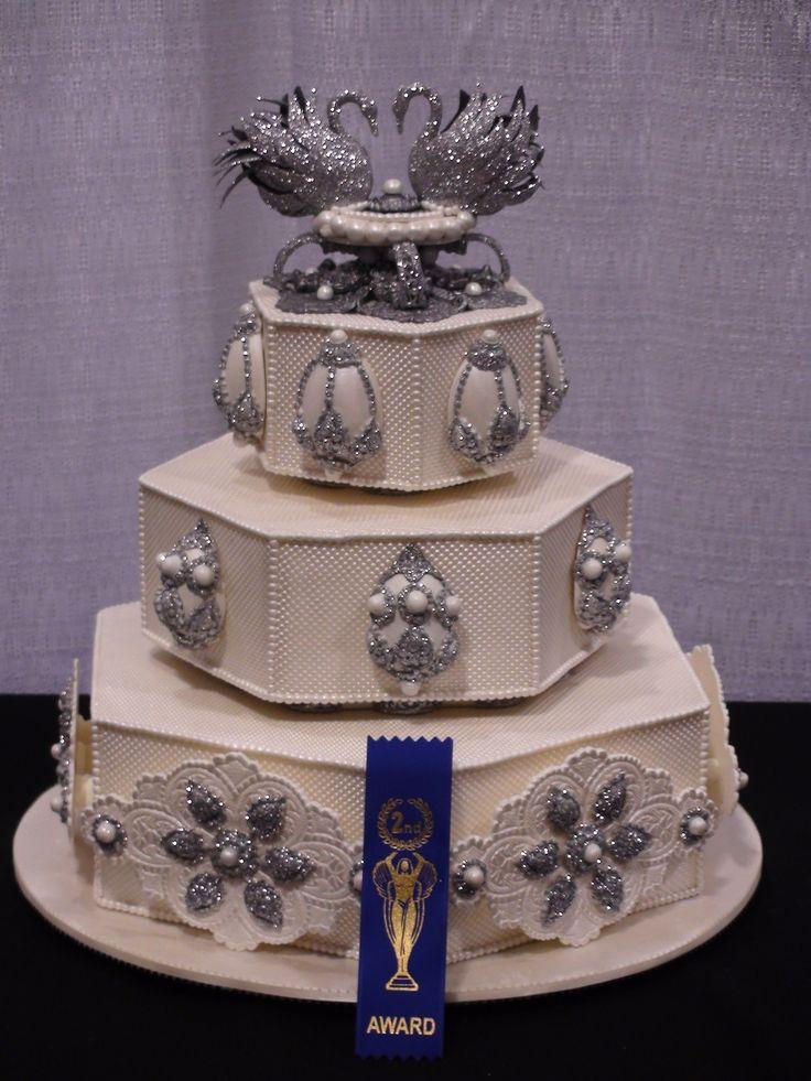 Faberge Egg Theme Wedding Cake Fondant cake with Gum paste topper
