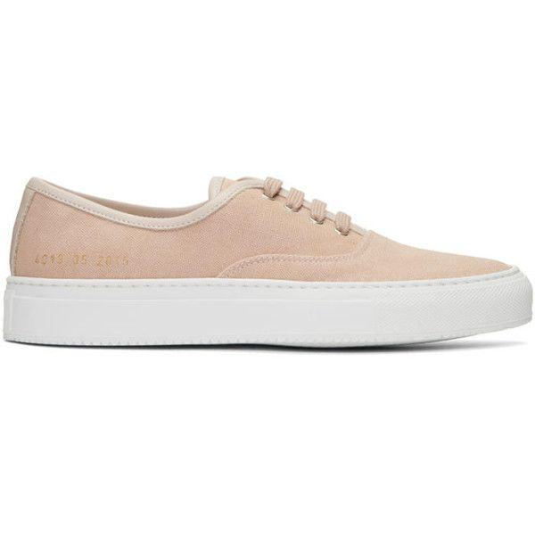 Woman by Common Projects Pink Canvas Tournament Four Hole Sneakers ($170) ❤ liked on Polyvore featuring shoes, sneakers, pink, pink trainers, pink sneakers, common projects shoes, low top and low profile sneakers