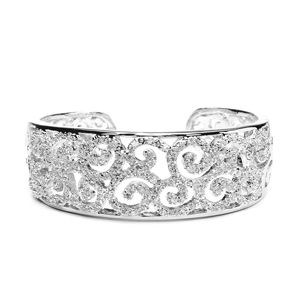 Jewel Encrusted Pave Cubic Zirconia Scrolls Bridal Cuff Bracelet