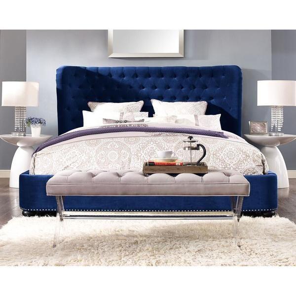 Philly King Navy Blue Bed Frame Velvet Bed Frame Upholstered Platform Bed Bed Frame And Headboard