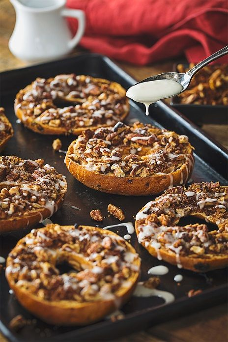 Cinnamon Roll Bagels With Cream Cheese Frosting and Nut Crumble - Gluten Free - Canyon Bakehouse Cinnamon Raisin Bagels