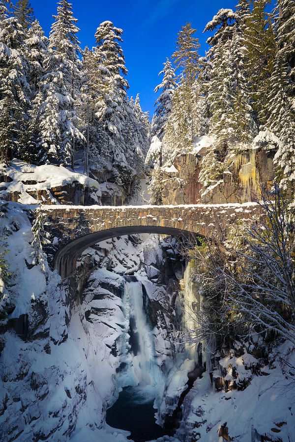 Winter at Christine Falls - Rainier National Park - Washington. this now on the list. probably hard to get there in snow conditions but I will check it out on the map----want  to go today!