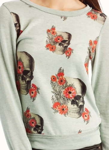 """floral skull sweater  not sure if i would buy it. it's cute tho! i just don't have that """"omg i MUST HAVE IT"""" feeling for some reason."""