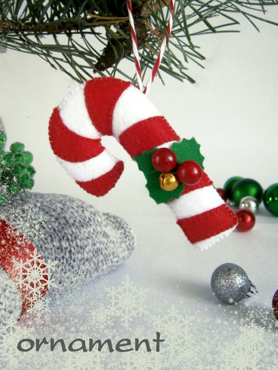 Felt Christmas ornament candy cane Christmas gift by MyMagicFelt