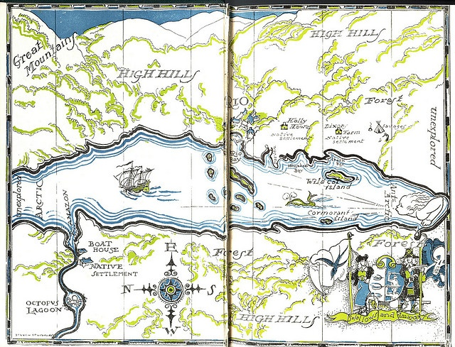 Endpapers map, 1930.  Get free teaching and learning resources for Swallows and Amazons by Arthur Ransome at http://www.litwitsworkshops.com/free-resources/  .. We also offer hands-on, sensory enrichment guides!