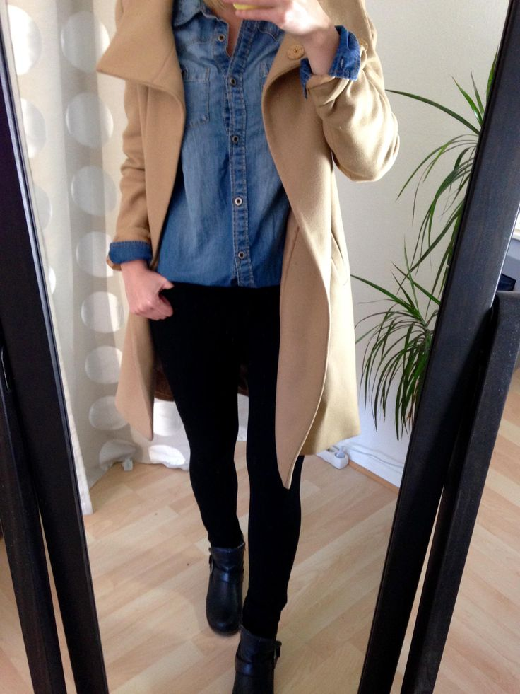Jeans-Hemd Trenchcoat Outfit - Camel Coat Chambray Outfit