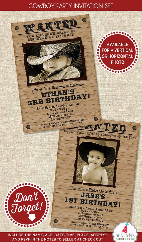 first birthday invitation template india%0A Wanted Cowboy Party Invitation and Thank You Note Set  Printable   u   d u   d u   d u   d