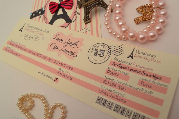 tarjeta de invitacion para fiesta de 15 años con tematica priciense