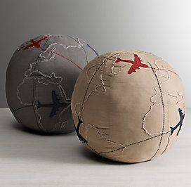 Rh Floor Pillows : Poufs & Floor Pillows RH baby&child APPLIQUED GLOBE PILLOW RESTORATION HARDWARE Pinterest ...