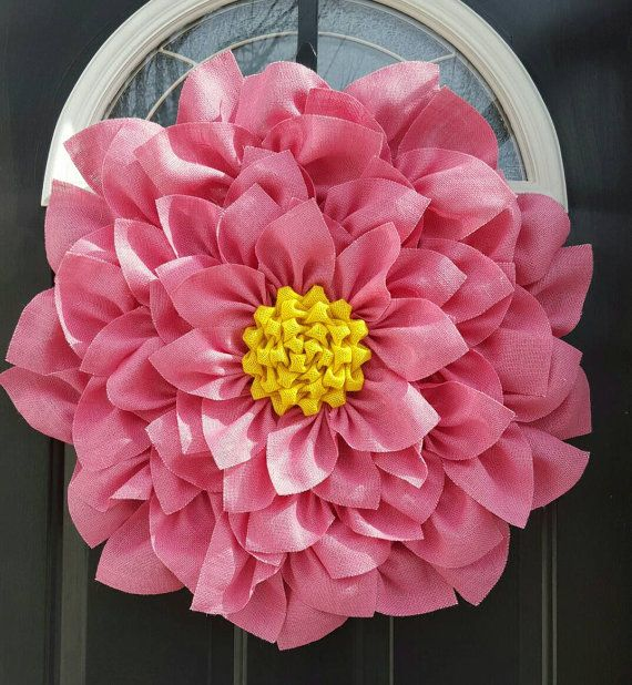 Pink And Yellow Large Burlap Flower Wreath Summer Wreath