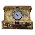 8 in. x 6.5 in. x 3.2 in. Wood and Faux Leather Old World Map Small Suitcase Clock, Antique World Map