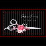 Chic pink and black hairdresser business cards featuring a pair of elegant FAUX silver hair cutting scissors embellished with beautiful pink flowers with a subtle black on black vertical striped pattern background. Personalize this stylish hair salon business card design by adding the name of the hairstylist or beautician. Flat printed image, NOT metallic or reflective.