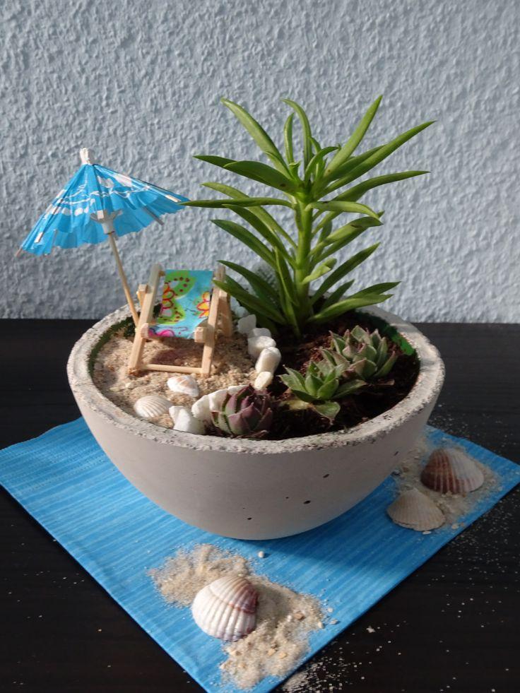 Sommer, Sonne, Strand... Beton Schale von Anninas-Bastellounge als Miniaturgarten mit Sukkulenten bepflanzt.