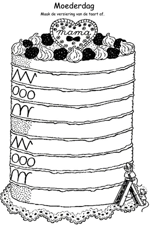 Leuke taart; knip 'moederdag' eraf en je kunt hem overal voor gebruiken.  Schrijfpatroon