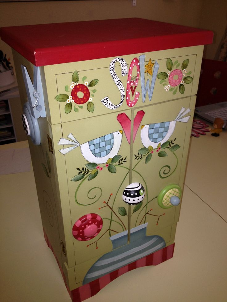 My little sewing cabinet I painted.