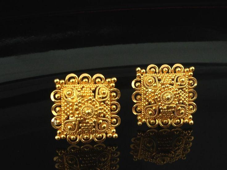 22k Gold Stud Earrings 4.5 Grams, Indian, Kundan, Islamic, and Gold Jewelry in…