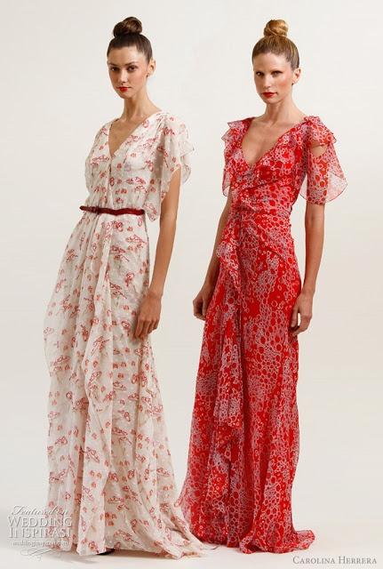 Carolina Herrera maxi dresses! Would be great bridesmaids dresses for a spring wedding:)