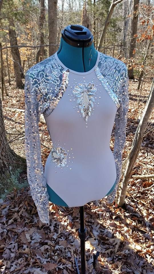 Grey leotard altered and blinged  by Diva Dance Costume Creations.  Visit us on facebook