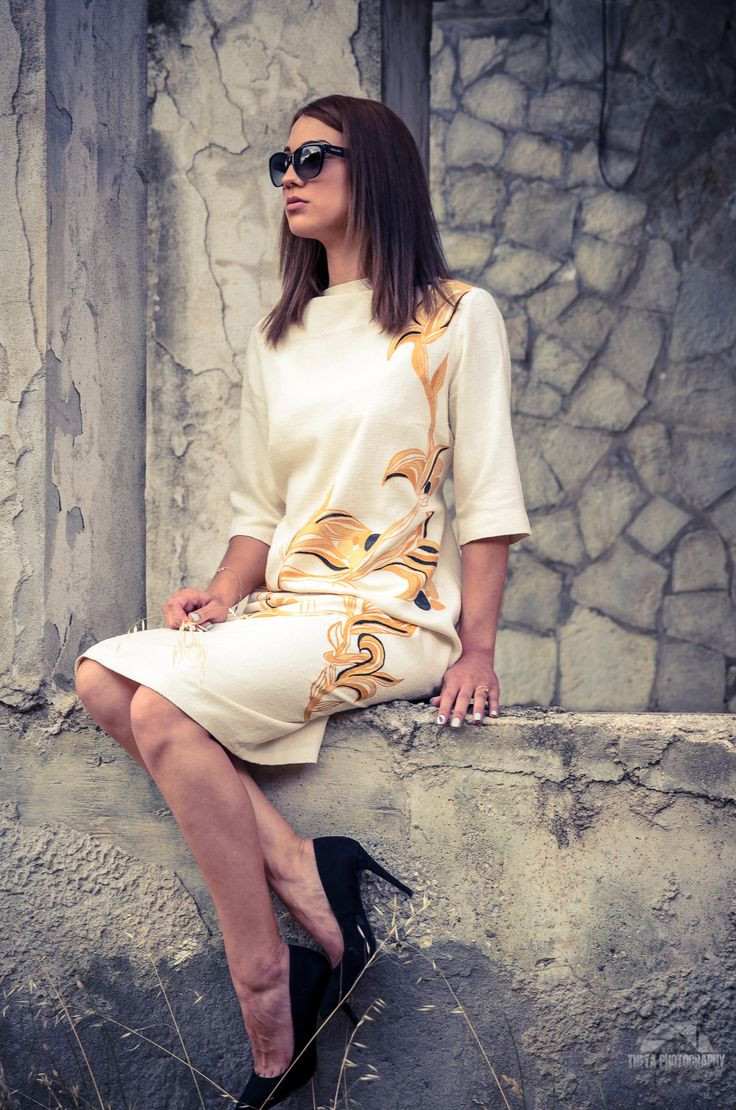 """""""Vintage"""" - wooven silk dress, hand painted.  Main Fait s/s 2015"""