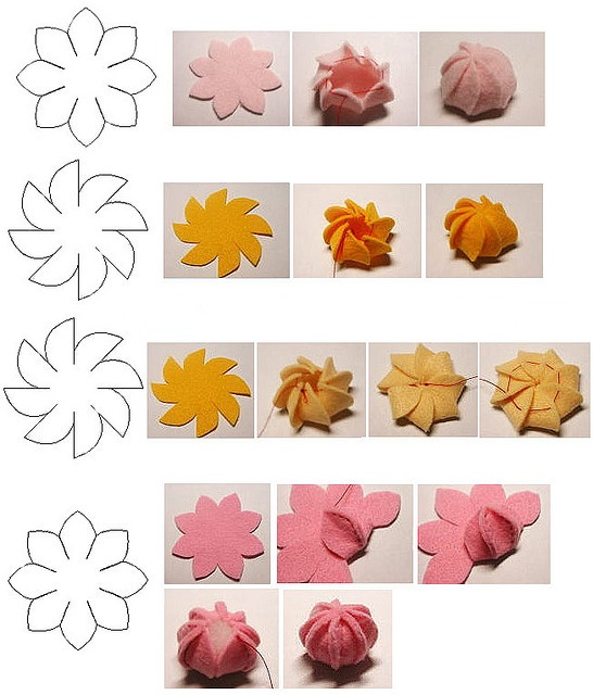 Moldes Flores Fieltro